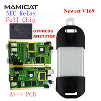 2017 New V169 Golden PCB Full Chip CYPRESS AN2131QC NEC Relay For Renault Can Clip Diagnostic Interface CAN Clip Free Shipping