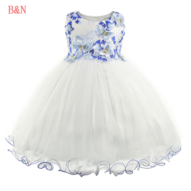 B&N Embroidery Girl Princess Dress Mesh Sleeveless Girls Dresses For Party And Wedding Princess Dresses For Little Girls gf go7300 b n a3 gf go7400 b n a3