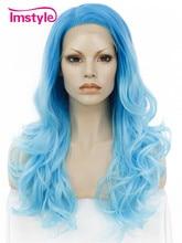 """Imstyle водно-хвилеподібна синтетична омбра біла та синя 24 """"мереживний перший парик"""