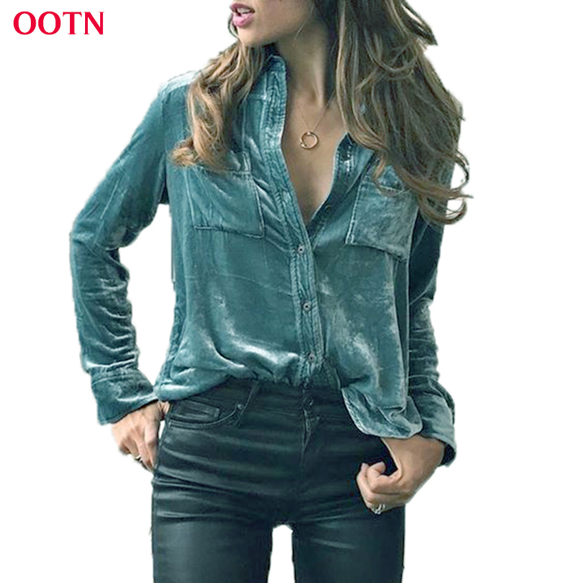 OOTN Velvet Blouse Women Cotton Autumn Winter Spring Top Warm Button Down Female Shirts Tops With Pockets Office Blue Green ...