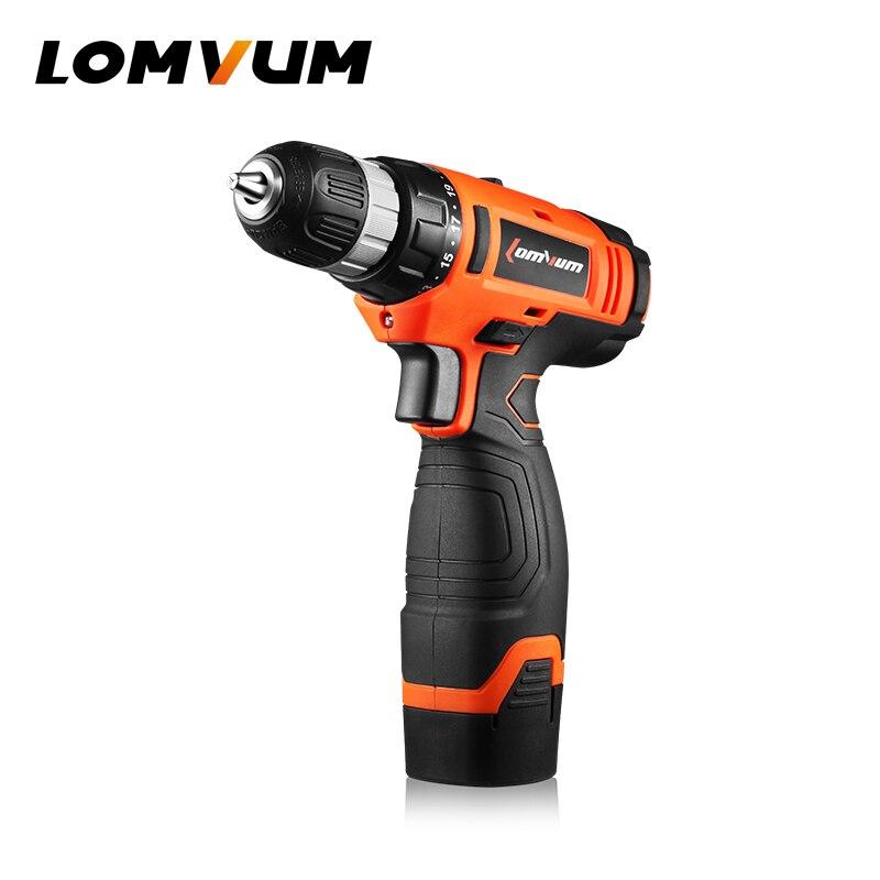 LOMVUM 16 V Multi-función destornillador inalámbrico litio/batería eléctrica doble ajuste de la velocidad Mini taladro Motor de torsión