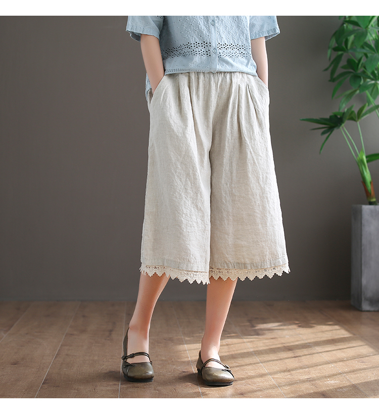 mori girl cotton linen patchwork lace lacing calf-length   pants     Wide     leg     pants   women