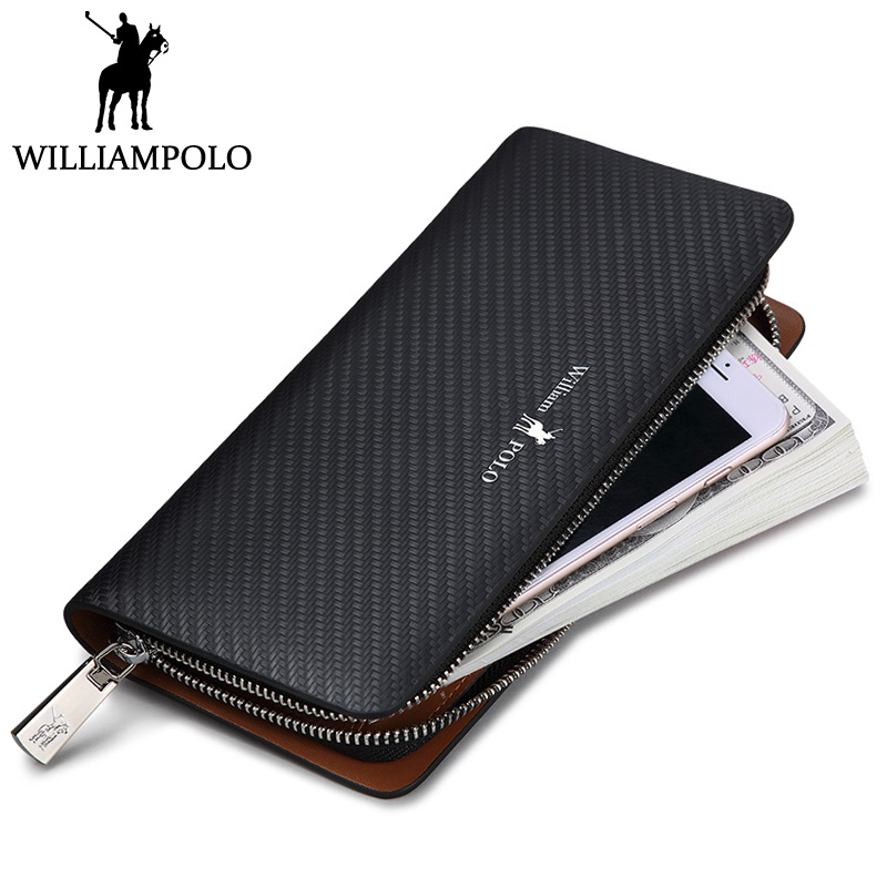WILLIAMPOLO Fashion Men Clutch Bags Leather Blue Zipper Long Wallet Genuine Leather Purse Phone Case Pouch male Checkbook Wallet business men clutch bags classic wallet genuine leather male cell phone purse long style card holder clutch bags