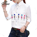 TLZC Long Sleeve Women Shirts White 2017 Spring New Cartoon Print Casual Ladies Blouses Size S-XXL Turn Down Collar Women Tops