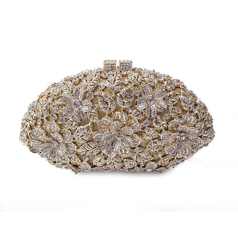 Luxury Wome Evening Bag Clutch Fashion Crystal Wedding Party Women Handbag Flower Pattern Rhinestone Diamond Ladies Evening Bag 2016 women fashion metallic rhinestone flower pattern crystal evening bag wedding bride clutch handbag