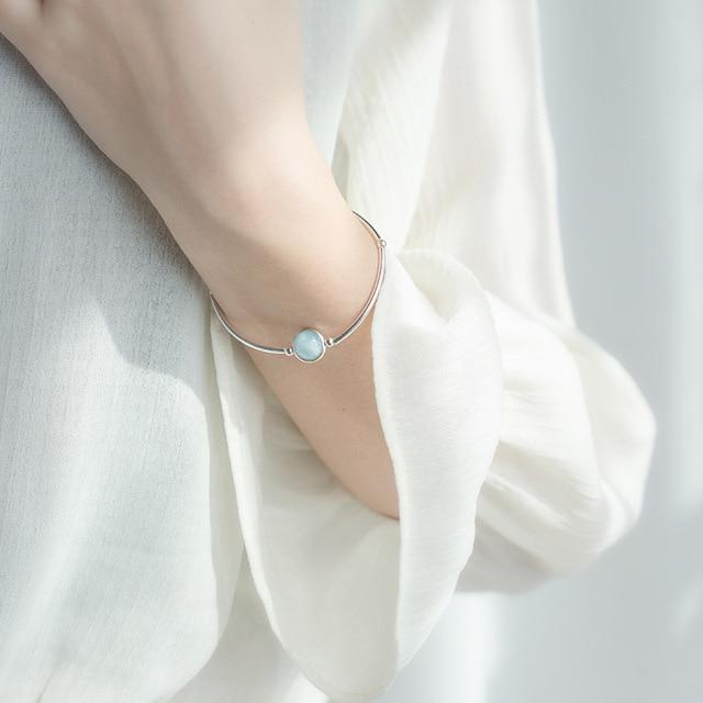 Bracelet Porte-Bonheur Perle Pierre Aigue-Marine