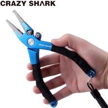CrazyShark Aluminium Fishing Pliers Split Ring Cutters Hook Remover Line Cutting Tools Scissors With Lanyard Sheath