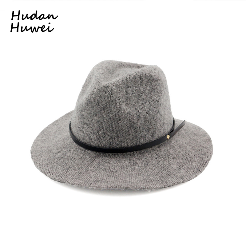 100% Wool Jazz Hats Caps for Women Men Autumn Winter Ladies Fedora Hats with Belt Female Wide Brim Top Hats 6 Colors GH-217