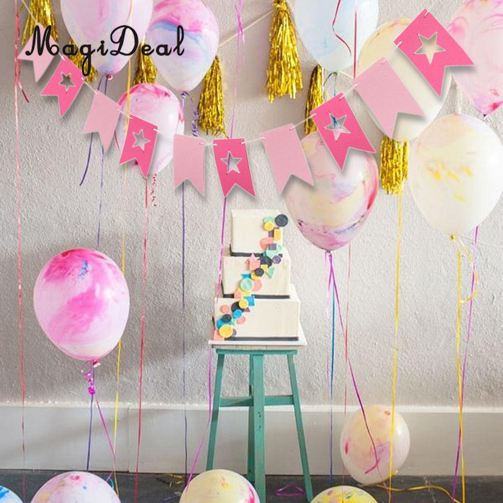 MagiDeal Beautiful Handcrafted Banner Sign Cards Felt Star Pennant Flags Bunting Garland Banner Wedding Christmas Party Decor