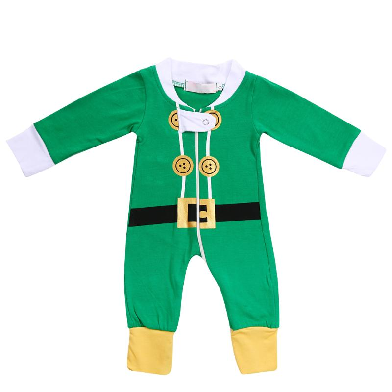 2017 Winter Christmas Family Matching Clothes Newborn Romper Jumpsuit Baby Parents Green Sleepwear Pajamas Family Look Clothing