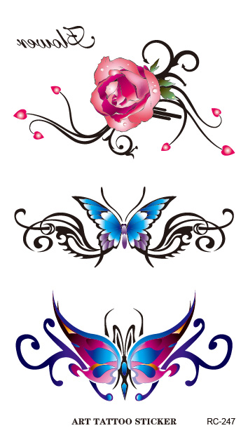 RC2247 Waterproof Flash Tattoo Sticker Color Butterfly Rose Temporary Tattoo Stickers Body Art Fake Tattoo Foil Decal Wholesale