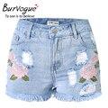 Burvogue mulheres bordados de flores de verão shorts jeans borla e escavar calças jeans meados de cintura calças jeans rasgado