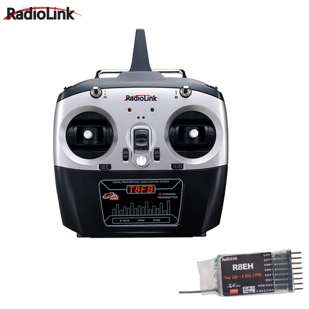 1set RadioLink T8FB 2.4GHz 8ch Transmitter R8EH Receiver Remote Rontrol for RC Helicopter DIY RC Quadcopter Plane radiolink t8fb 2 4ghz 8ch rc transmitter with r8eh receiver combo remote rontrol for rc helicopter diy rc quadcopter plane