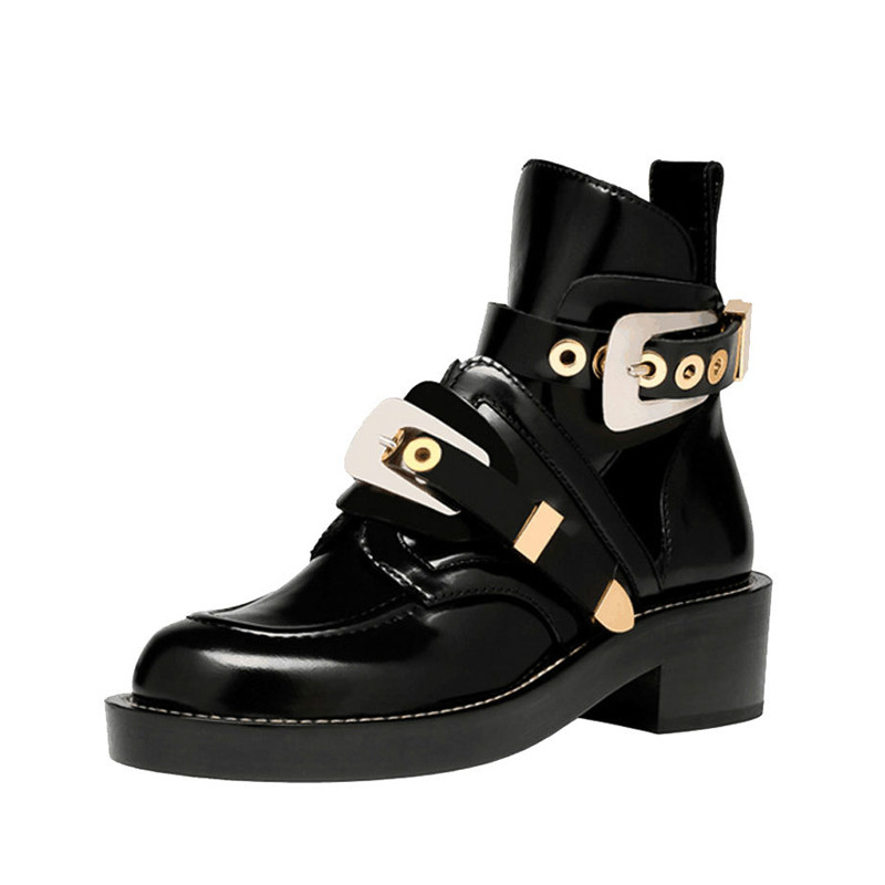 Women Ankle Motorcycle Martin Boots Hollow out autumn Shoes Patent Leather Fashion black Ladies Booties metal buckle 100411 women martin boots 2017 autumn winter punk style shoes female genuine leather rivet retro black buckle motorcycle ankle booties