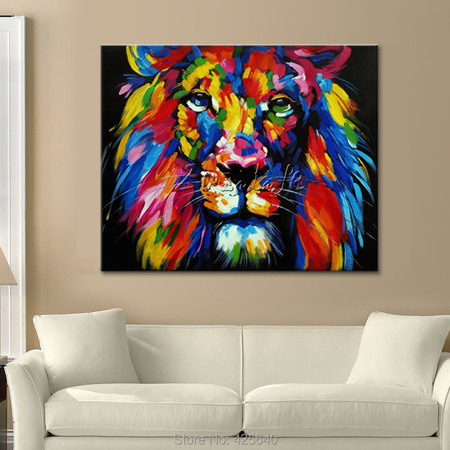 Animal Lion Oil painting On Canvas Painting For Living Room Wall Art pictures Pop art  home decor quadros cuadros decoracion01