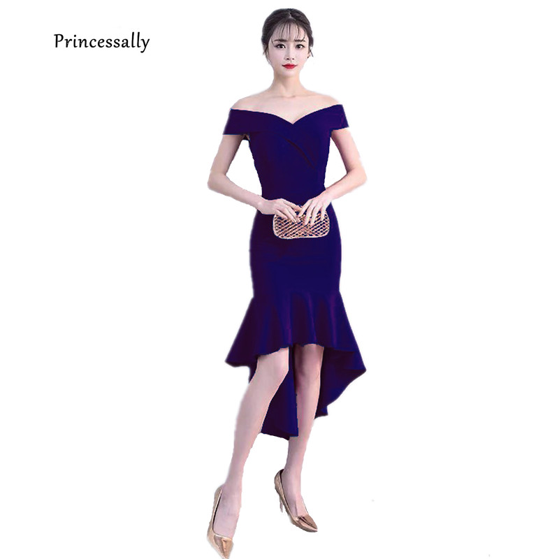New High Low Mermaid Cocktail Party Dress Sexy Off Shoulder Simple Formal Prom Gown For Wedding Guest Graduation Robe De Soriee