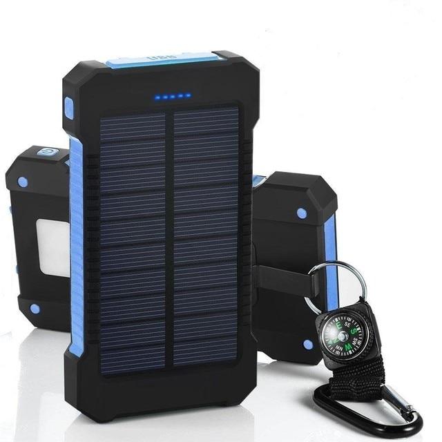 Солнечный открытый водонепроницаемый компас Power Bank Dual USB 20000 мАч power bank baterias Портативные Солнечные Панели со СВЕТОДИОДНОЙ подсветкой
