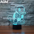Novelty Mega Pokemon Go SQUIRTLE 3D Lamp Night Lights 3D Touch Table lamp Pikachu 7 Color 3D NightLights For Kids Gifts Lampara