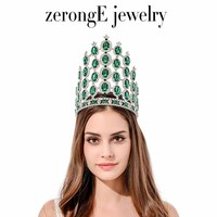 zerongE jewelry 7.8'' fashion large tall pageant Green silver Royal Regal Sparkly Rhinestones Tiaras And Crown for women