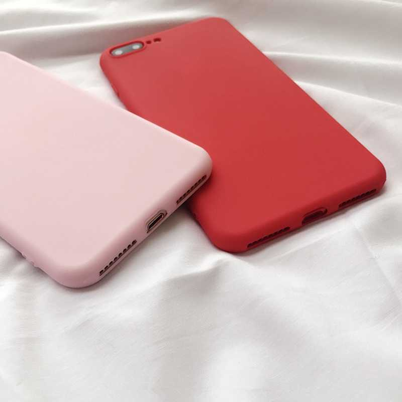 Cor sólida lisa funda para iphone 11 xr 8 caso silicone macio para iphone 6s 6 7 8 plus x xr xs 11 pro max casos à prova de choque capa