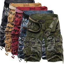 Camo Cargo Shorts Men Multi-pocket Casual Loose Mens Short Pants Camouflage Military Summer Knee Length Plus Size Male Shorts цена в Москве и Питере