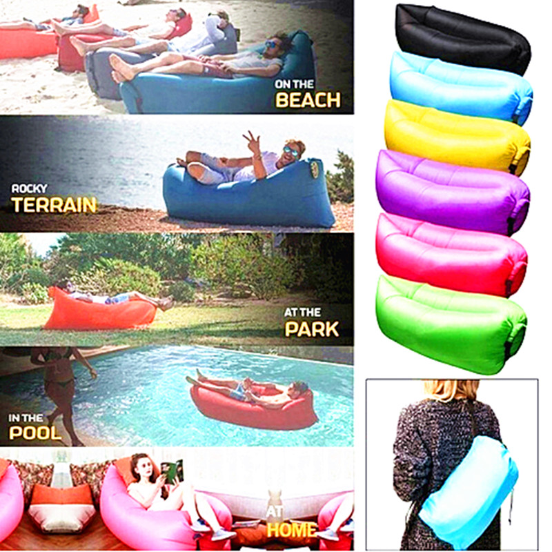 Modern Home Air Furniture Foldable Gas Lazy Sofa Bed Sunshine Beach Blow-Up Chair Park Sleeping Air Bag Equipment Waterproof For