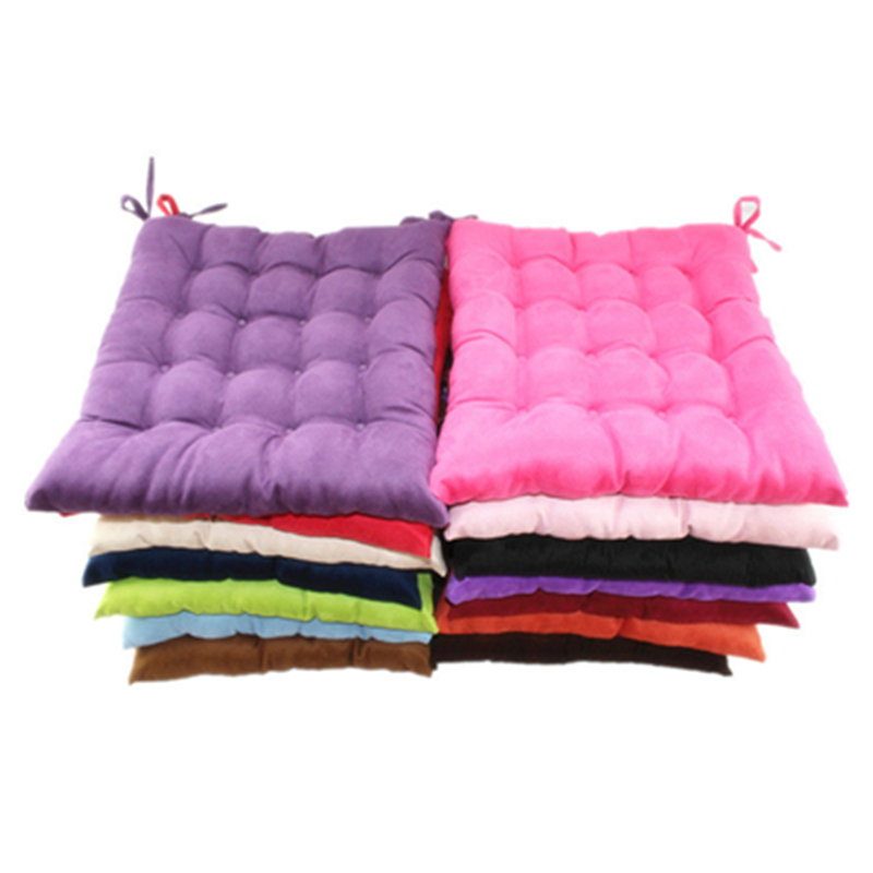 Fashion Customizable Soft Thick Suede Pure Plush Colorful Decorative Office Chair Pad Square Plaid Sofa Seat Cushions Home Decor