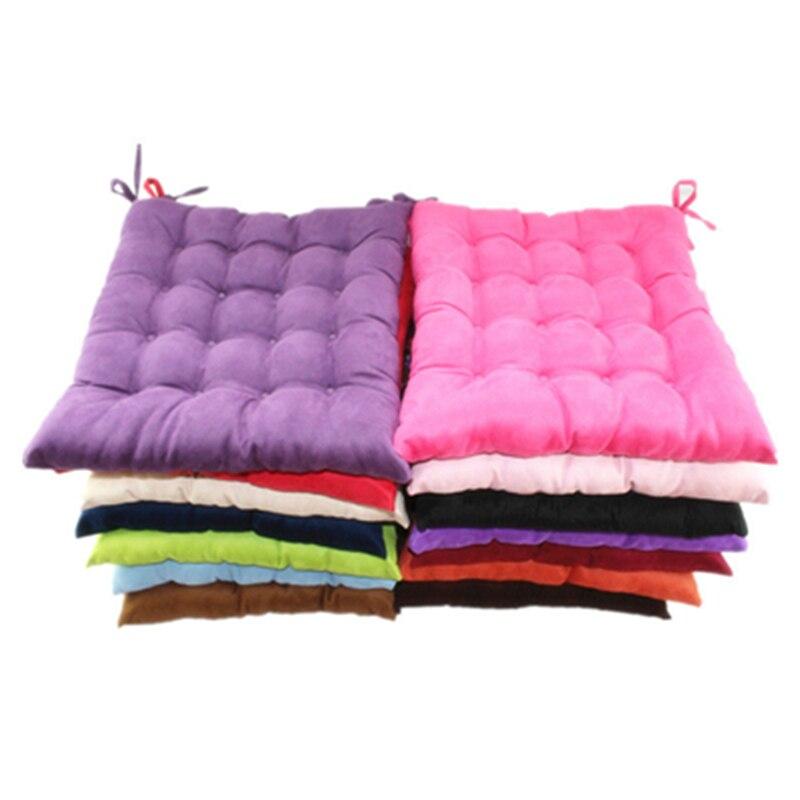 Fashion Customizable Soft Thick Suede Pure Plush Colorful Decorative Office Chair Pad Square Plaid Sofa Seat Cushions Home Decor
