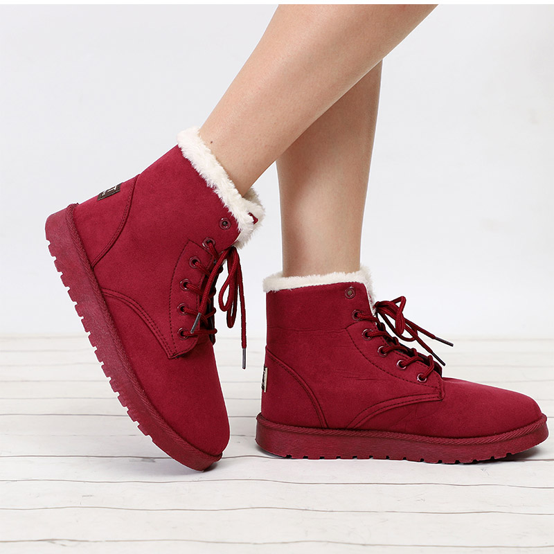buy cheap Snow Boots Winter Warm Flat Ankle Boots Lace Up Shoes