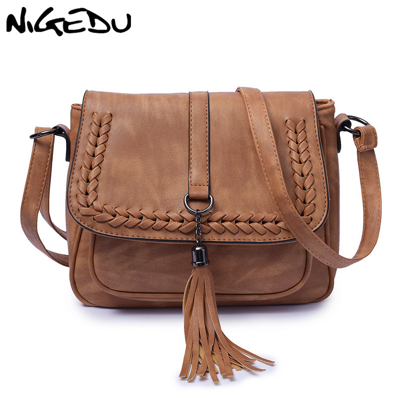 NIGEDU Vintage Tassel Women Bag Female Crossbody Bags for Women Messenger Bags Leather Shoulder Bags Large Capacity Handbag original ethnic embroidered women handbag vintage handmade tassel shoulder bags black canvas casual large bags