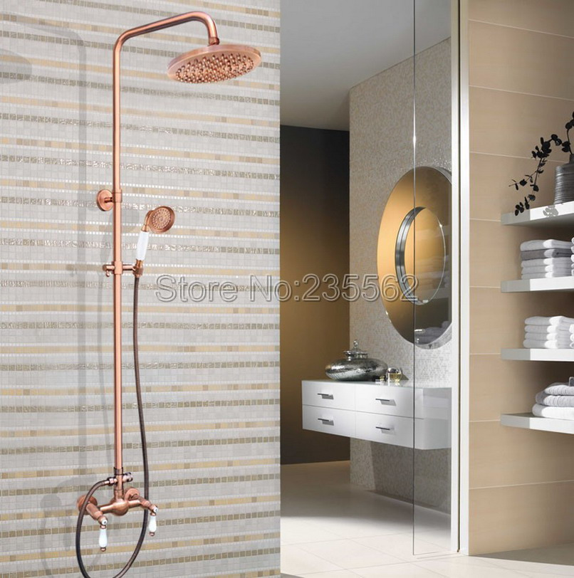 Red Copper 8 inch Rainfall Bathroom Dual Ceramic Lever Rain Shower Faucet Set Wall Mounted Mixer Tap lrg586