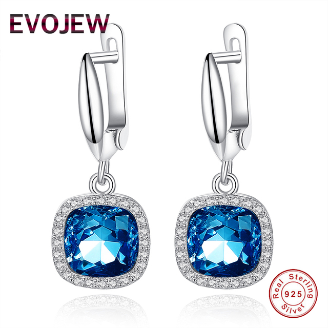 Evojew Gorgeous Royal Blue Crystal Dangle Earrings Women Real 100 925 Sterling Silver Earring With