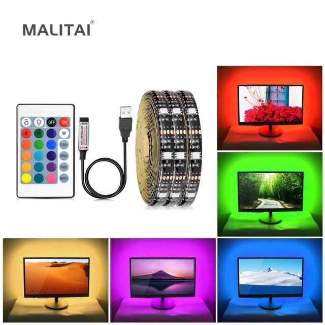 5V 1M/2M RGB 5050 USB LED Cabinet light NOT Waterproof LED Tape For TV Bias Blacklight Desktop PC LCD Monitor Decoration lamp