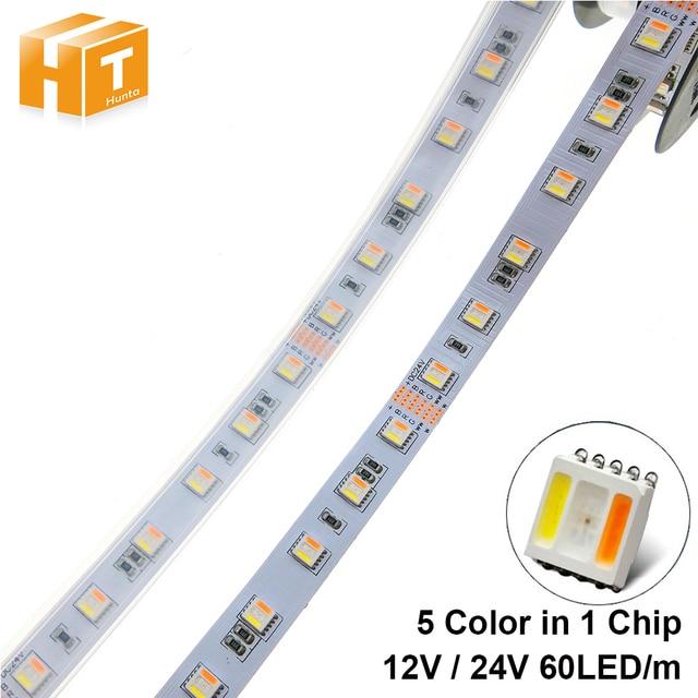 RGBCCT LED Streifen 5050 12 V/24 V 5 Farbe in 1 Chips RGB + WW + CW 60 LEDs/m 5 mt/los RGBW LED Streifen Licht 5 mt/los.