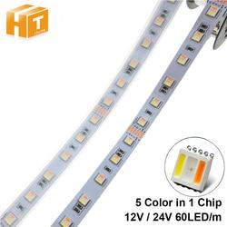 RGBCCT LED Strip 5050 12V / 24V 5 Color in 1 Chips RGB+WW+CW 60 LEDs/m 5m/lot RGBW LED Strip Light.