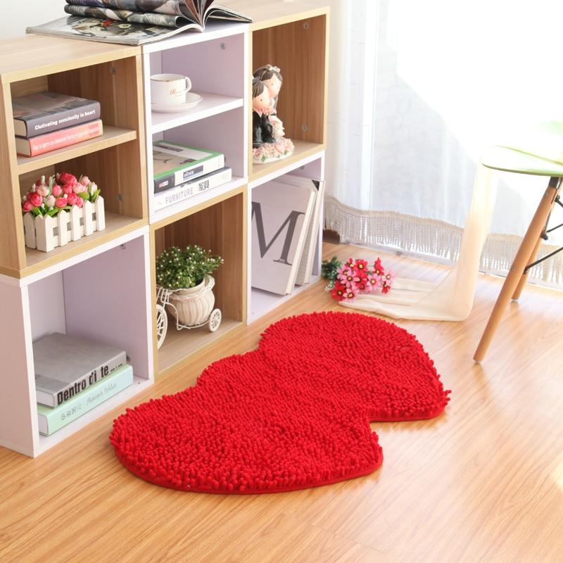 80X160 CM Double coeur tapis pour salon Chenille tissu salle de bain tapis doux chambre tapis maison mariage tapis de sol