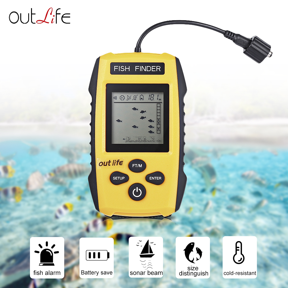 Outlife Portable Fish Finder 0.7-100M Depth Fishing Finder with Sonar Sensor Echo Sounder Alarm Smart Fish Finders for Fising lucky ffw1108 1 color lcd display portable wireless sonar fish finder water resistant 40m 120ft depth sonar sounder alarm b9