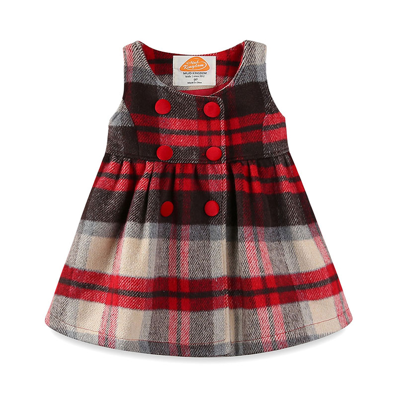 Mudkingdom Baby Girls Winter Plaid Dress Kids Preppy Style O-neck Button Sleeveless Tartan Dresses With Bow Children Clothing children summer princess sleeveless wholesale clothing kids plaid dresses baby girls o neck collar boutique clothes 6pcs lot
