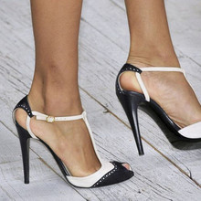 Black and white  stiletto sandals