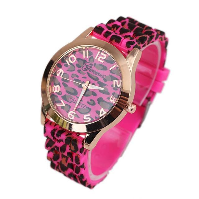 e4a443bc35f Unisex Geneva Women Watches Leopard Silicone Gel Quartz Analog Hour Wrist  Watch Ladies Clock Gift Relogio