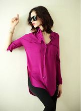 2015 Spring Plus Size Chiffon Shirt loose woman Blouse long sleeve Fashion Camisas Femininas xxxl 4xl 5xl 2015 camisas