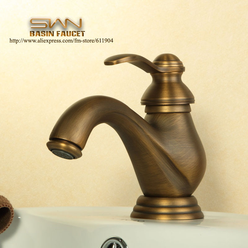 ФОТО Antique Brass Bathroom Faucet Vesssel Sink Basin faucet Mixer Tap Single Handle Lavatory Faucets Cold Hot Water taps 2210032