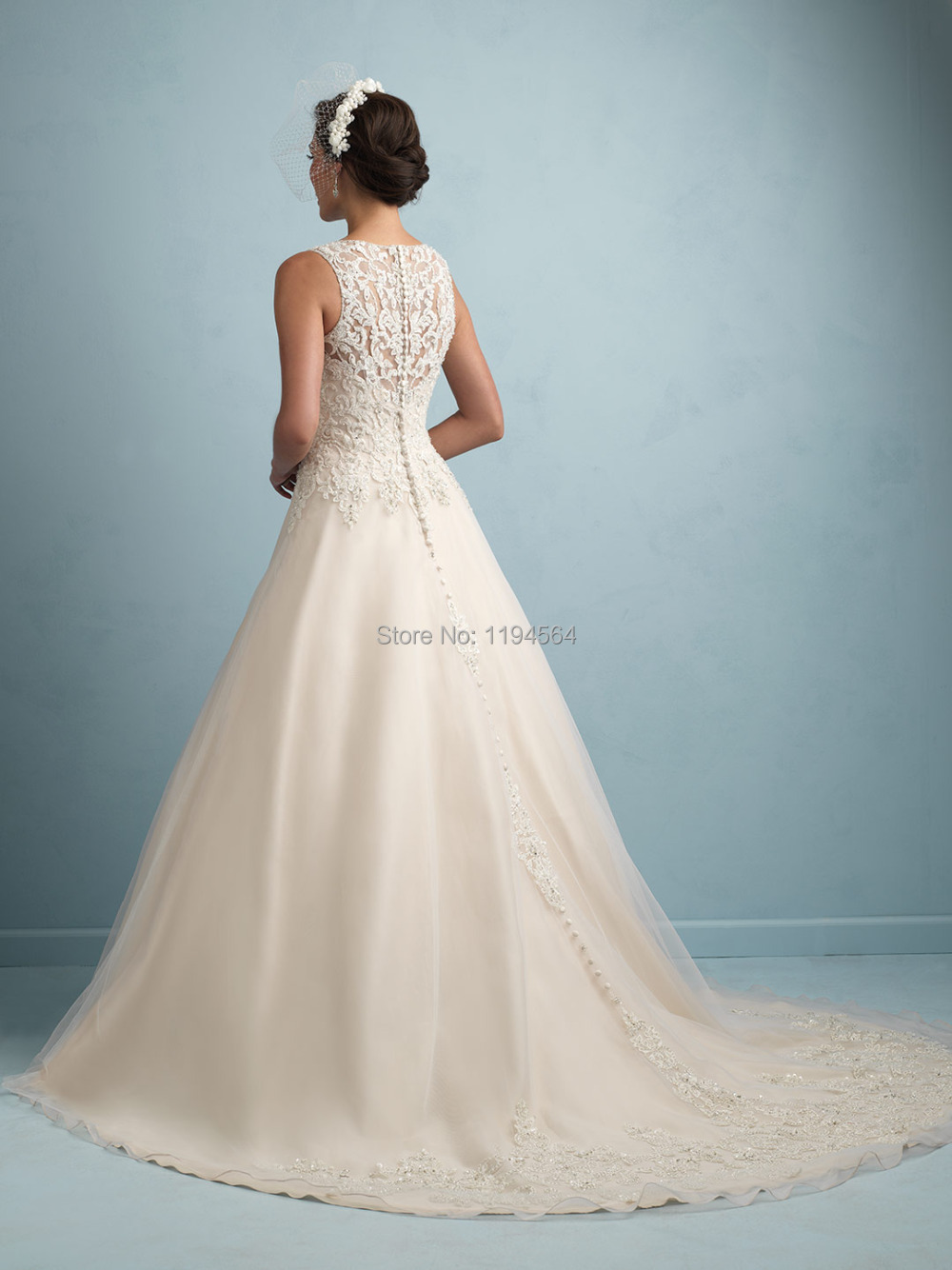 A Line Wedding Dresses Simple Crew Neckline offsets the Ornately ...
