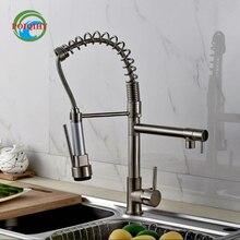 Матовый Никель Кухня Ванная Кран Однорычажный На Бортике Горячей и Холодной Воды Кран Двойной Поворотный Излив