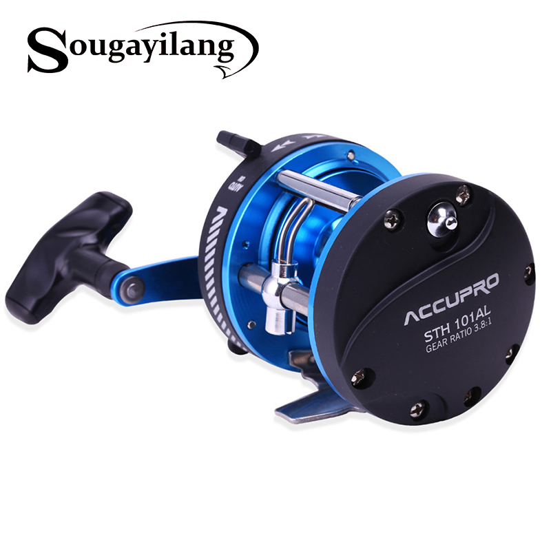 Sougayilang blue metal jigging fishing reel rock drum bait for Fishing line on reel