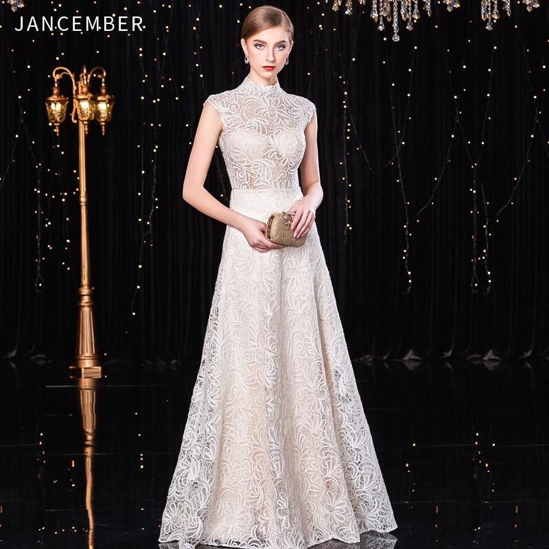 JANCEMBER elegant   cocktail     dresses   High-Neck A-Line Sleeveless Floor-Length Cut-Out Pattern Latest White Long vestido coctel