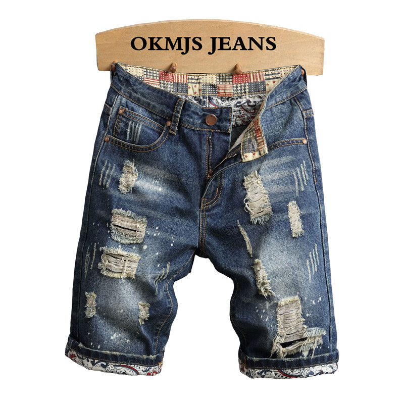 2019 Fashion Mens Ripped Short   Jeans   With Holes Summer Vintage Destroyed Distressed Denim Shorts For Man Pants Plus Size 28-40