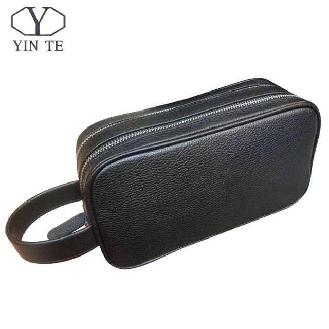 138b5809660d YINTE Luxury Brand Men Bag Genuine Leather Handbag Large Casual Business  Male Clutch Bags Two Zipper