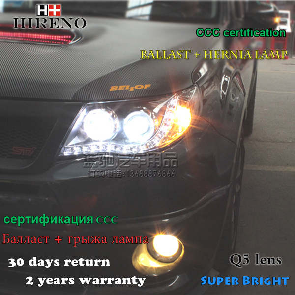 Hireno Headlamp for 2008-2012 Subaru Forester Headlight Assembly LED DRL Angel Lens Double Beam HID Xenon 2pcs купить