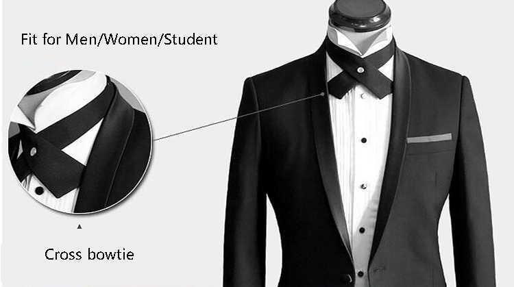 Регулируемый перекрестный галстук-бабочка для мужчин и женщин, однотонный деловой Повседневный галстук-бабочка, торжественное платье для мужчин, Свадебный металлический воротник-галстук-бабочка